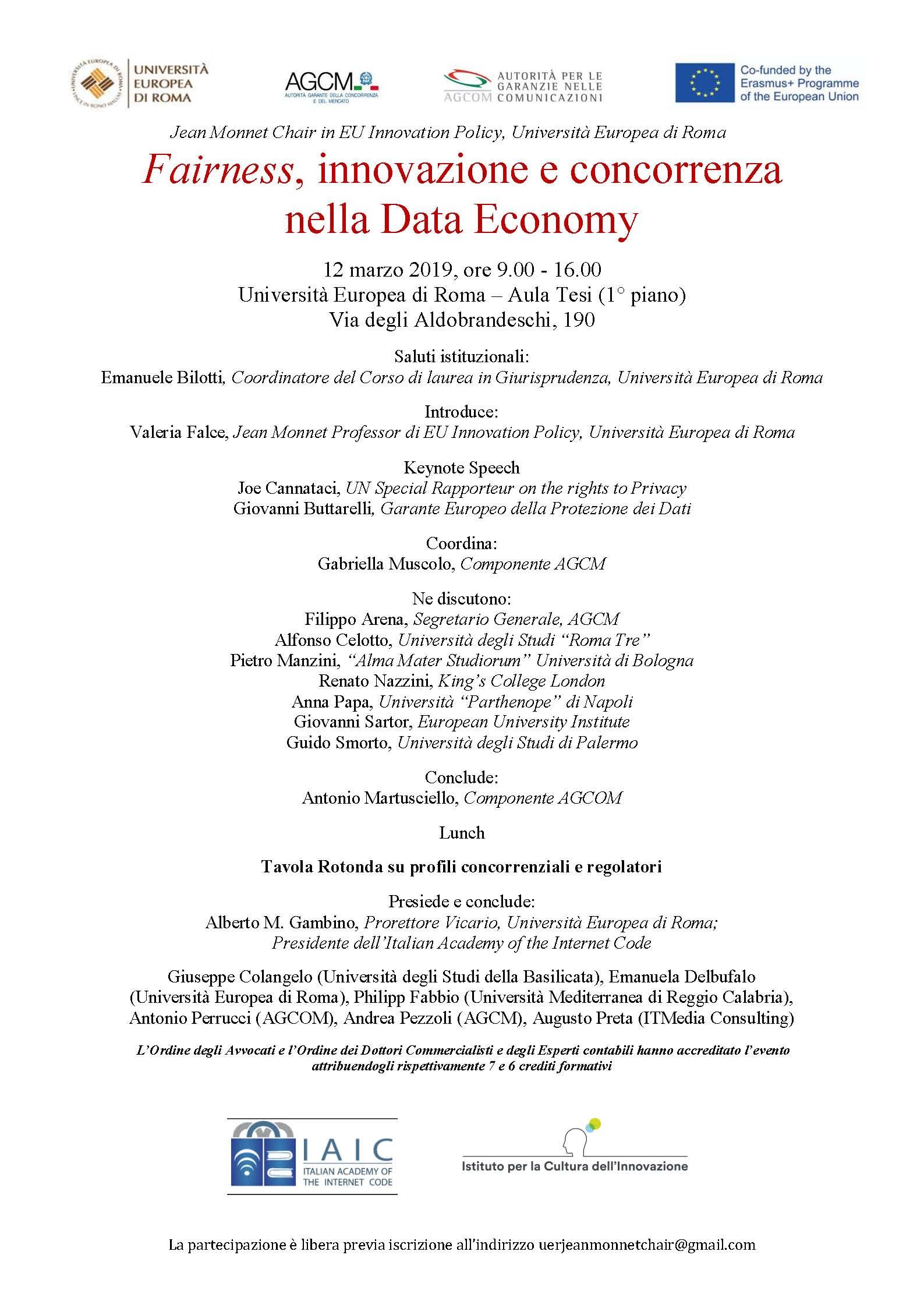 """Programma seminario """"Fairness, innovazione e concorrenza nella Data Economy"""""""