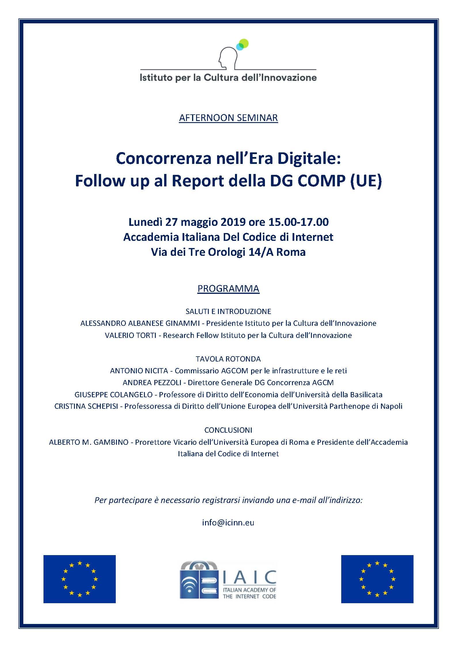 """Programma seminario """"Concorrenza nell'Era Digitale"""""""